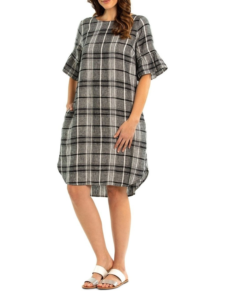 Pleat Sleeve Check Linen Dress image 1