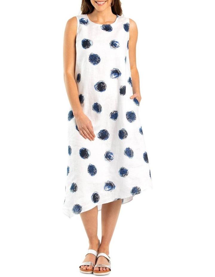 Sleeveless White Swirl Print Dress image 1