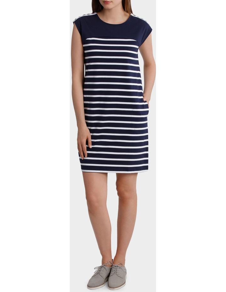 Button Trim Stripe Dress image 1