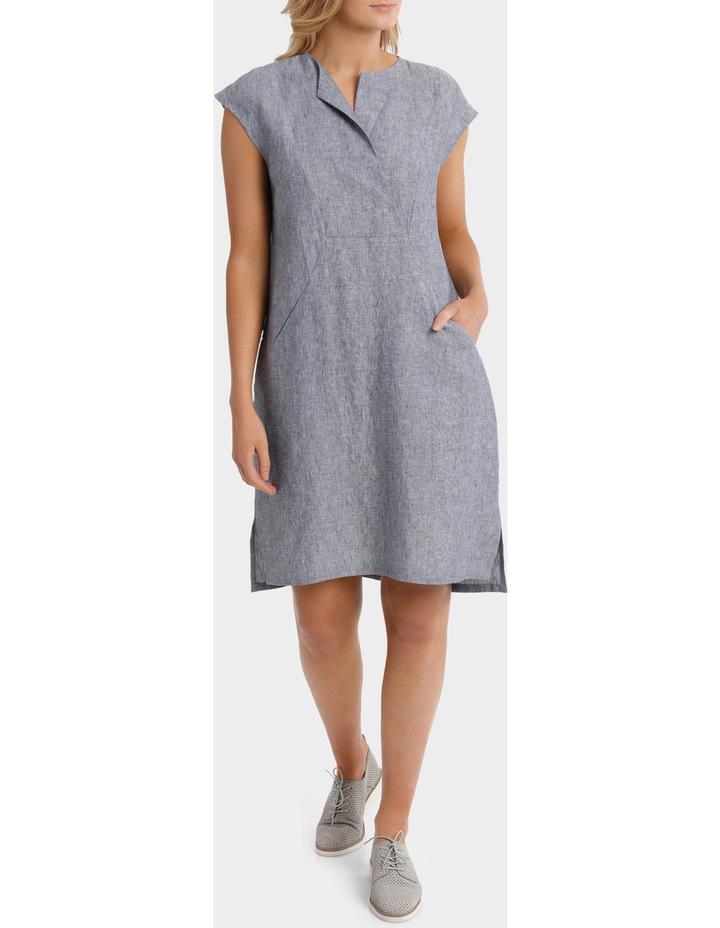 Short Sleeve Crossdye Linen Dress image 1