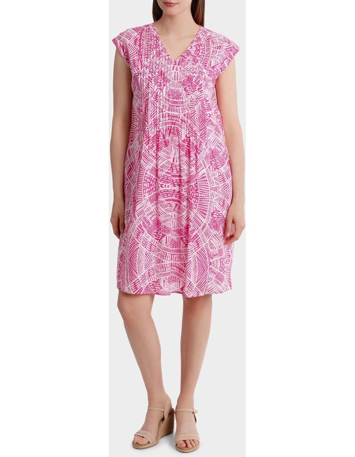 Short Sleeve Scroll Print Dress image 1