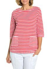 Yarra Trail Petites - 3/4 Sleeve Stripe Tee