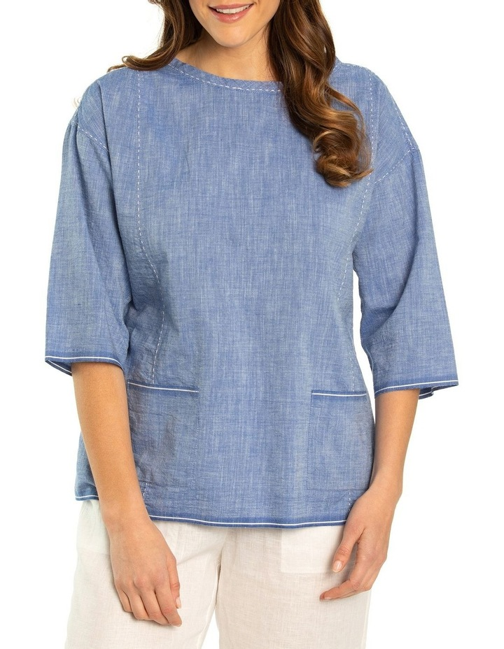 Stitched Chambray Top image 1