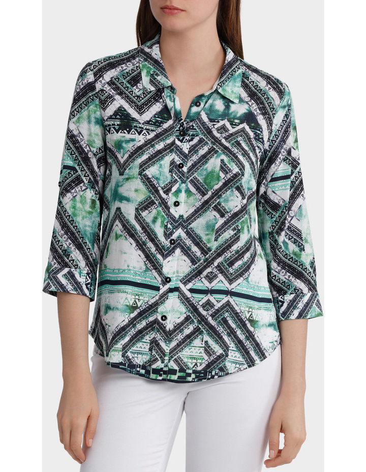 3/4 Tab Sleeve Matrix Print Shirt image 1