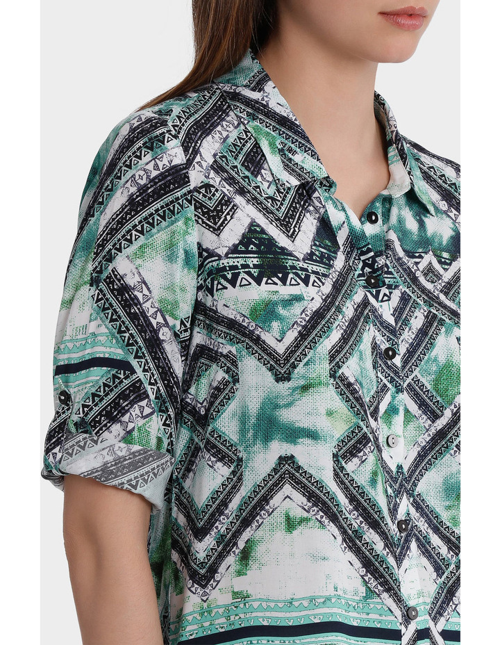 3/4 Tab Sleeve Matrix Print Shirt image 4
