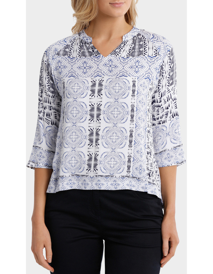 3/4 Sleeve Lisbon Print Shirt image 1