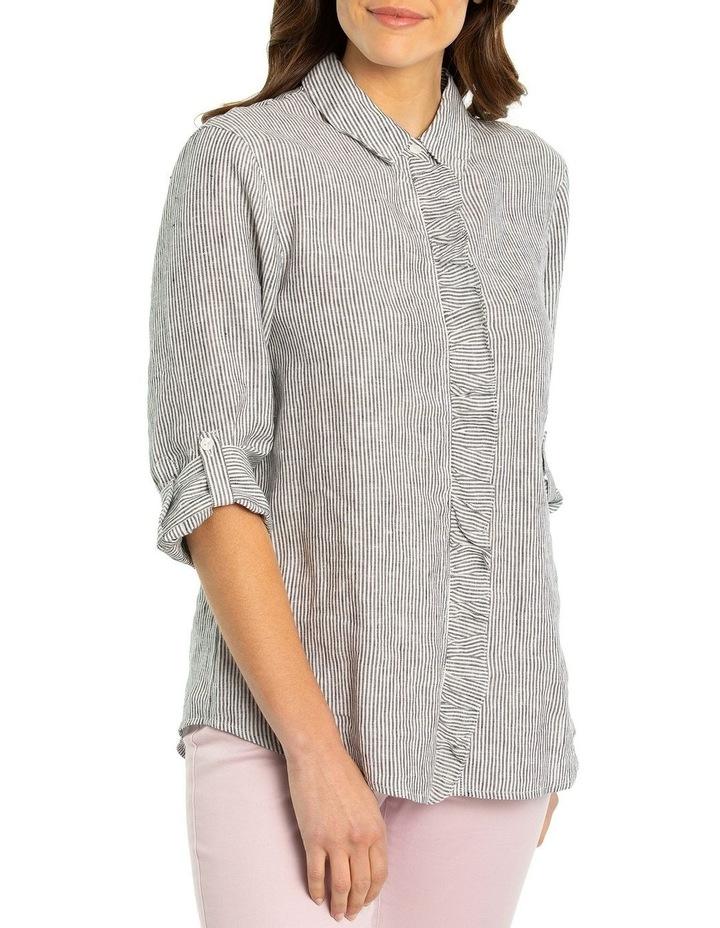 3/4 Sleeve Ruffle Placket Shirt image 1