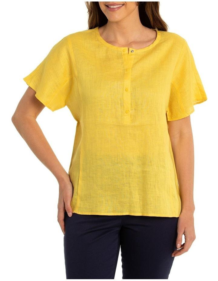 Short Sleeve Linen Paneled Shirt image 1