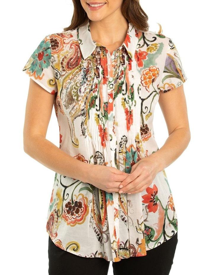 Flourish Print Pintuck Shirt image 1