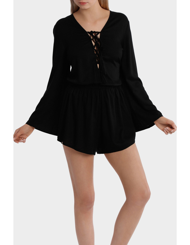 Lace Up Bell Sleeve Playsuit image 1