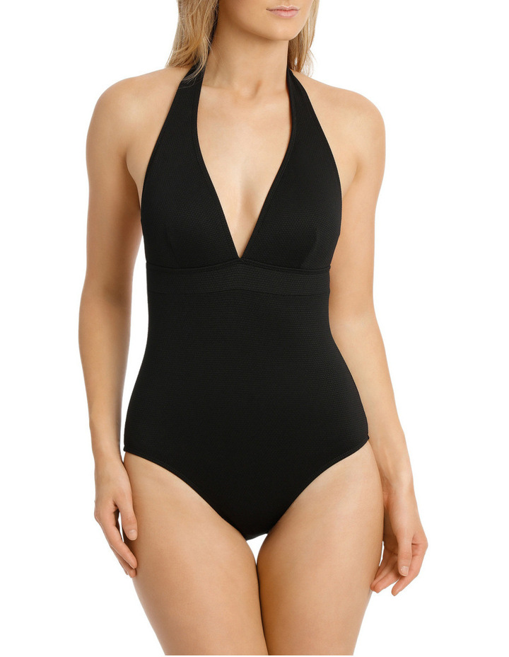 Textured Hi Tri Halter One Piece image 1
