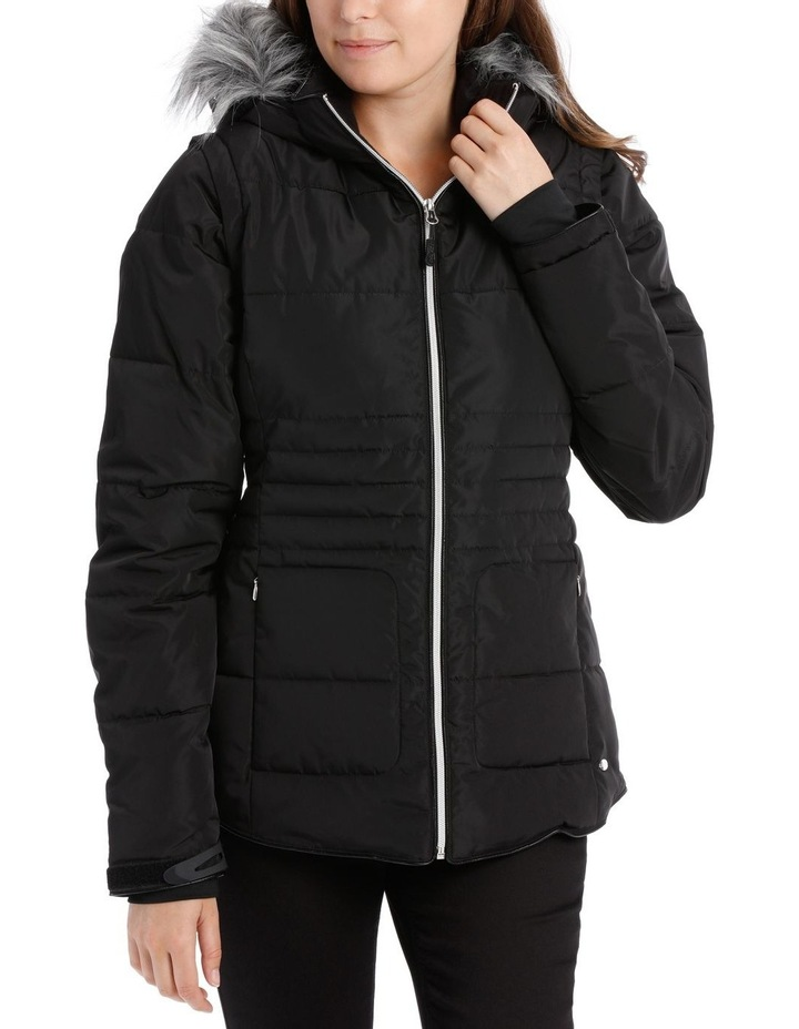 Reflect, 3 in 1 quilted water resistant jacket with removable sleeve to form vest and removable hood image 1