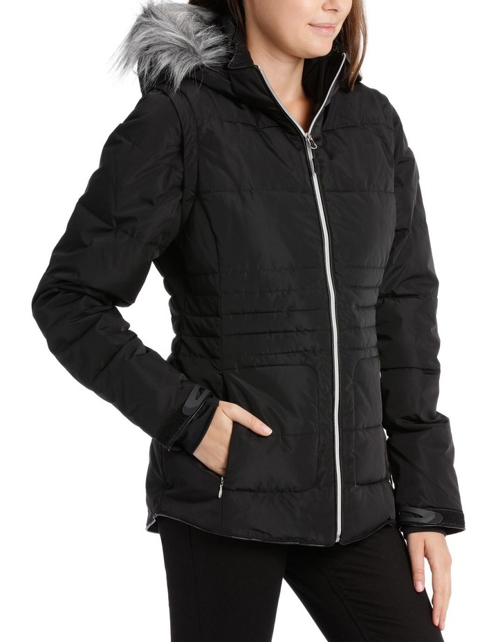 Reflect, 3 in 1 quilted water resistant jacket with removable sleeve to form vest and removable hood image 2