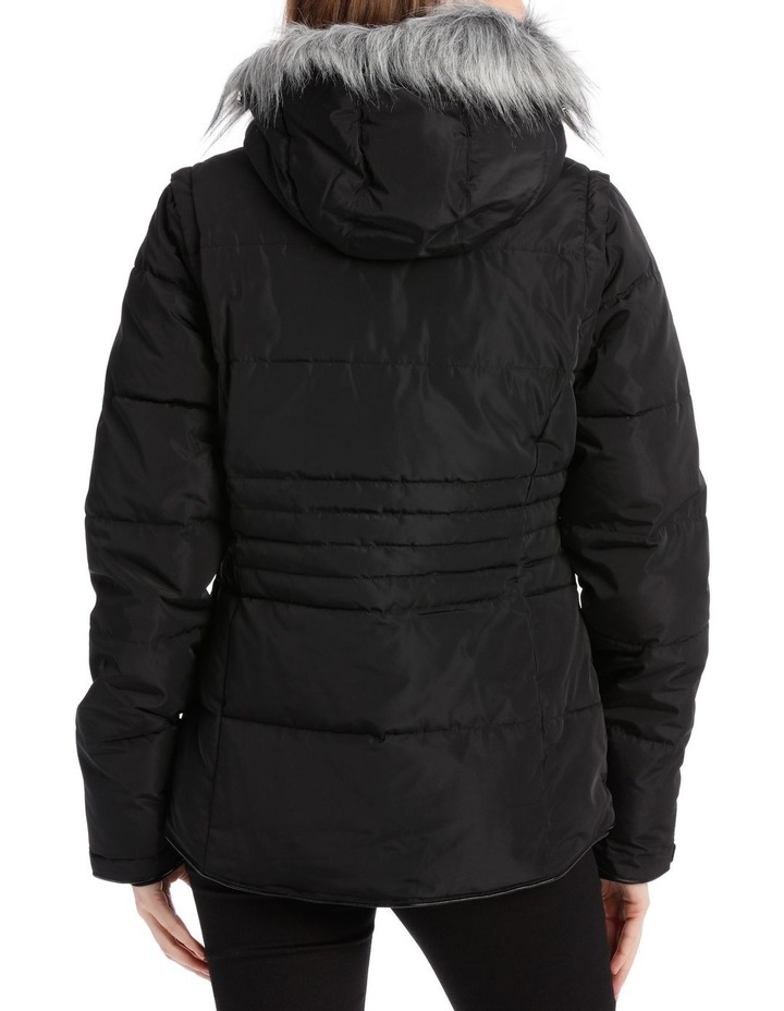 Reflect, 3 in 1 quilted water resistant jacket with removable sleeve to form vest and removable hood image 3