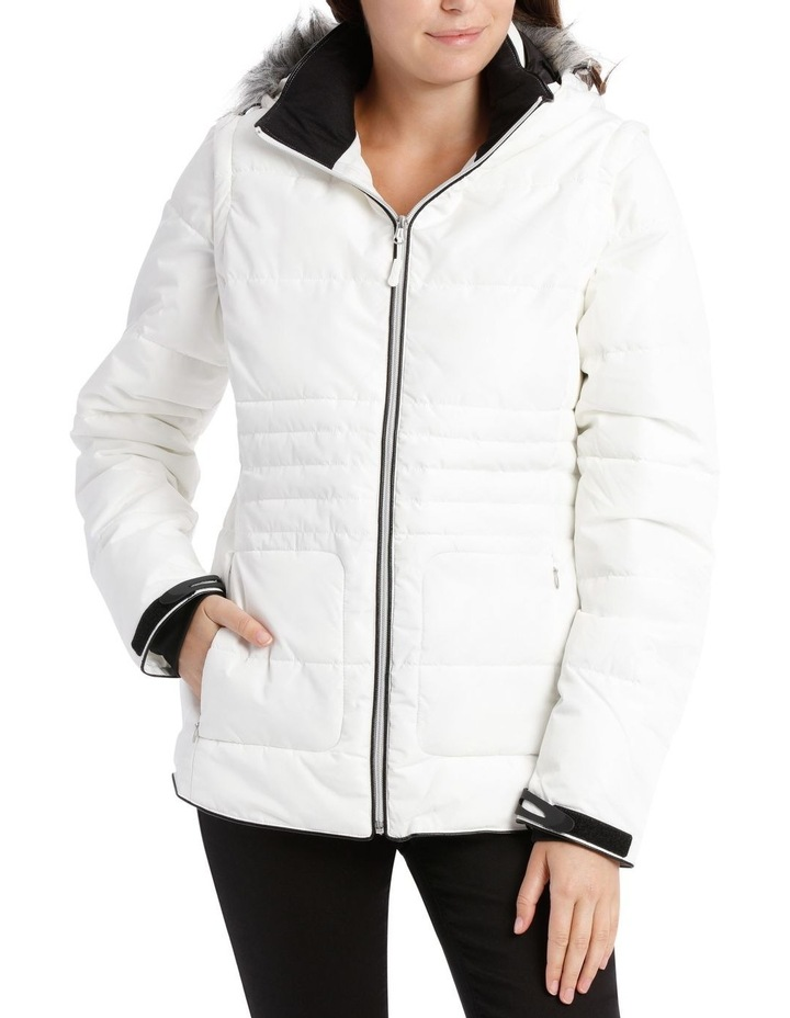 Reflect, 3 in 1 quilted water resistant jacket with removable sleeve to form vest and removable hood with faux fur trim image 1