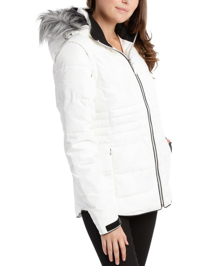 Reflect, 3 in 1 quilted water resistant jacket with removable sleeve to form vest and removable hood with faux fur trim image 2