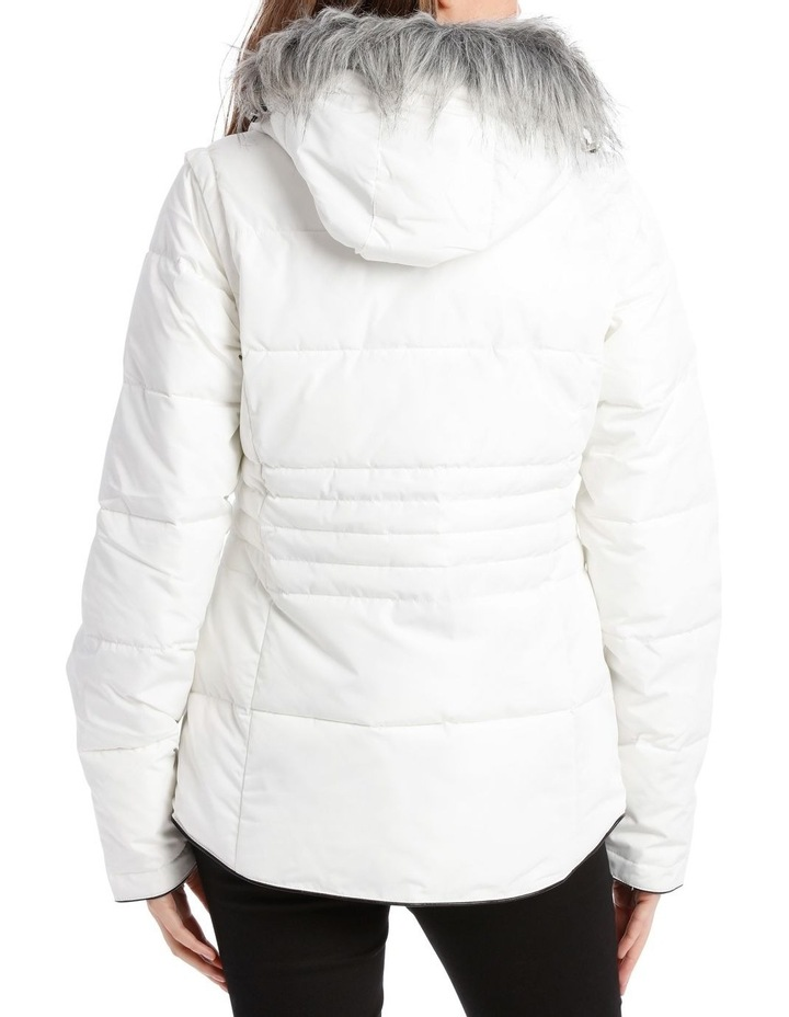 Reflect, 3 in 1 quilted water resistant jacket with removable sleeve to form vest and removable hood with faux fur trim image 3