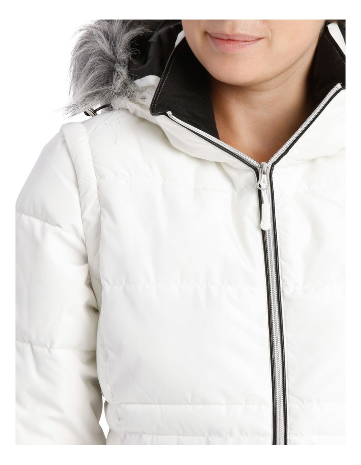 Reflect, 3 in 1 quilted water resistant jacket with removable sleeve to form vest and removable hood with faux fur trim image 4