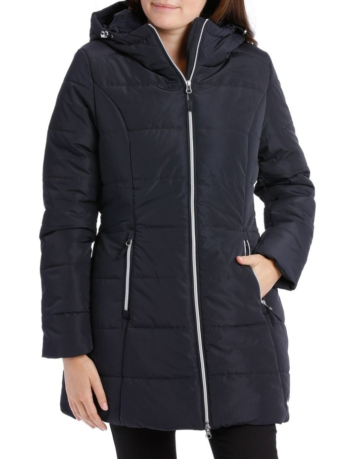 Laney Quilted water resistant longerline jacket with grown on hood & two way zipper image 1