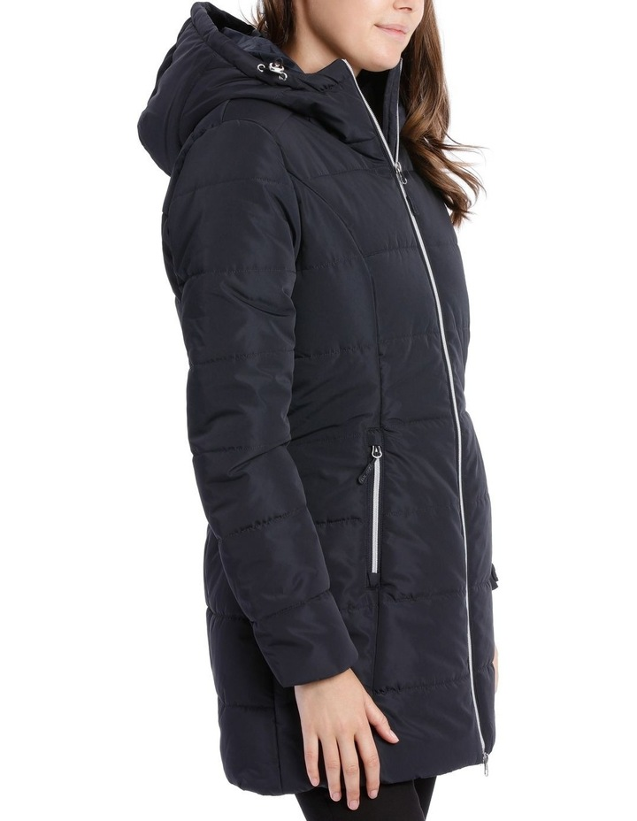 Laney Quilted water resistant longerline jacket with grown on hood & two way zipper image 2