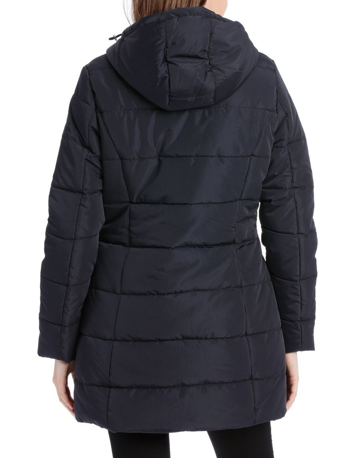 Laney Quilted water resistant longerline jacket with grown on hood & two way zipper image 3