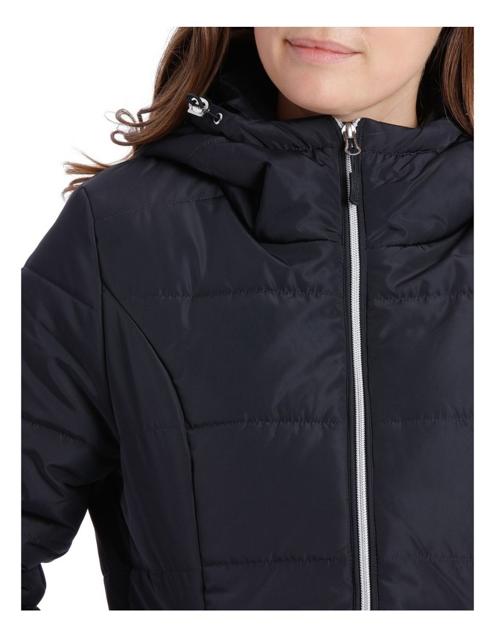 Laney Quilted water resistant longerline jacket with grown on hood & two way zipper image 4