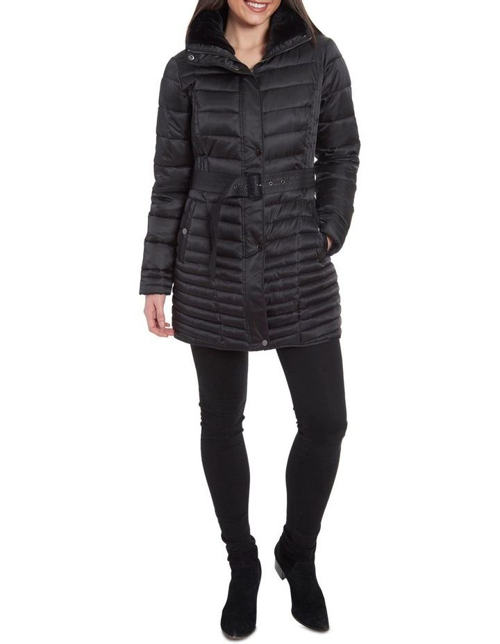 Mix Quilt Belted Puffer Coat With Faux Fur Collar image 2