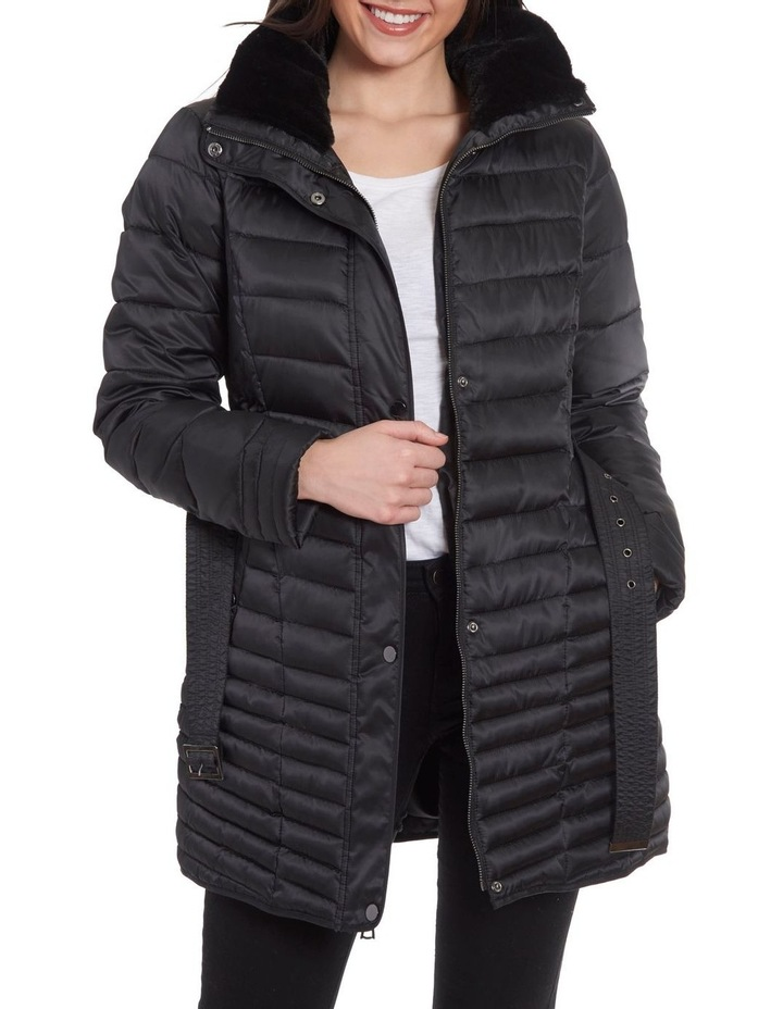 Mix Quilt Belted Puffer Coat With Faux Fur Collar image 3