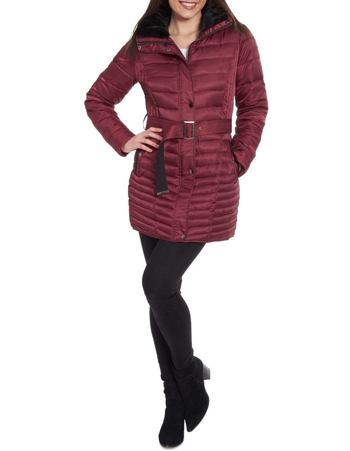 Mix Quilt Belted Puffer Coat With Faux Fur Collar image 1