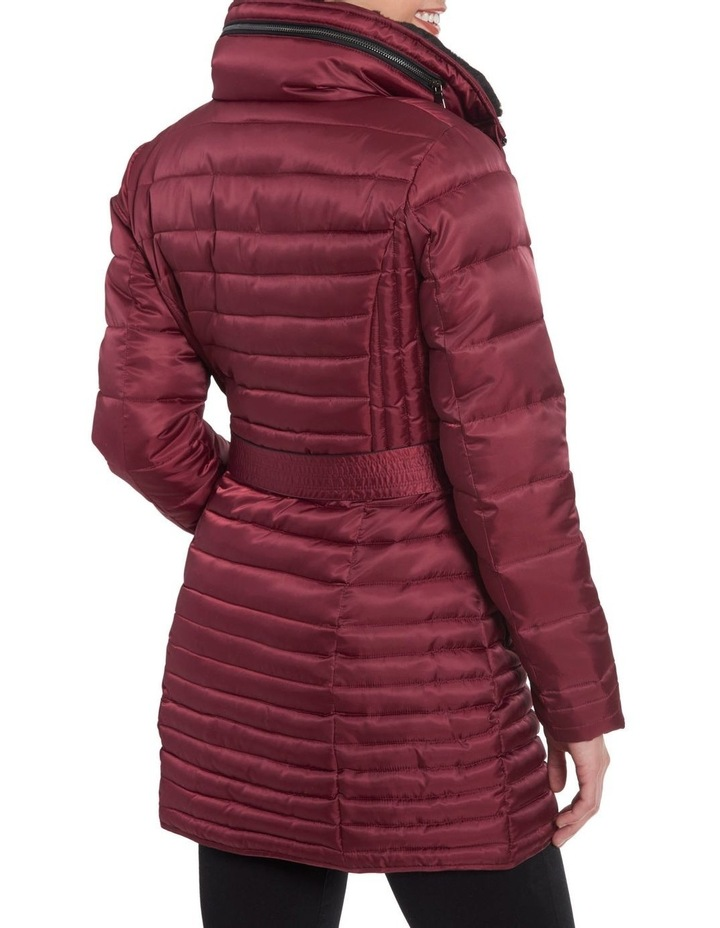 Mix Quilt Belted Puffer Coat With Faux Fur Collar image 4