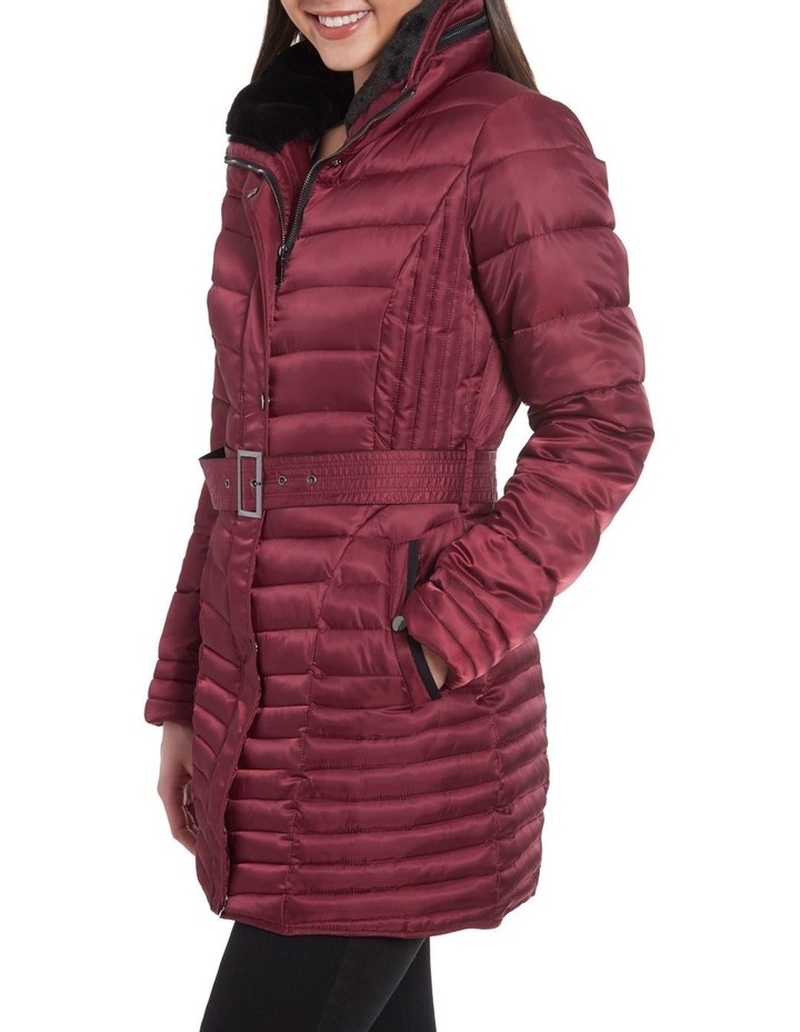 Mix Quilt Belted Puffer Coat With Faux Fur Collar image 6