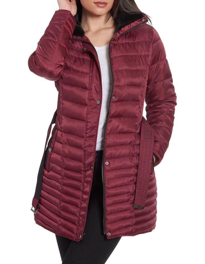 Mix Quilt Belted Puffer Coat With Faux Fur Collar image 7