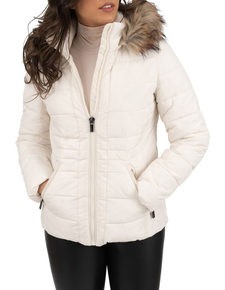 Short Puffer Jacket With Faux Fur Trim image 1