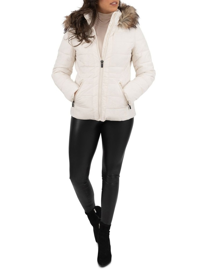 Short Puffer Jacket With Faux Fur Trim image 3