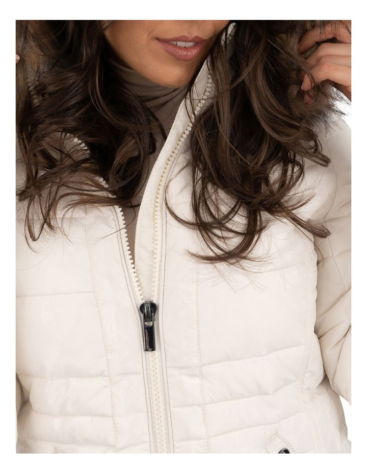 Short Puffer Jacket With Faux Fur Trim image 4