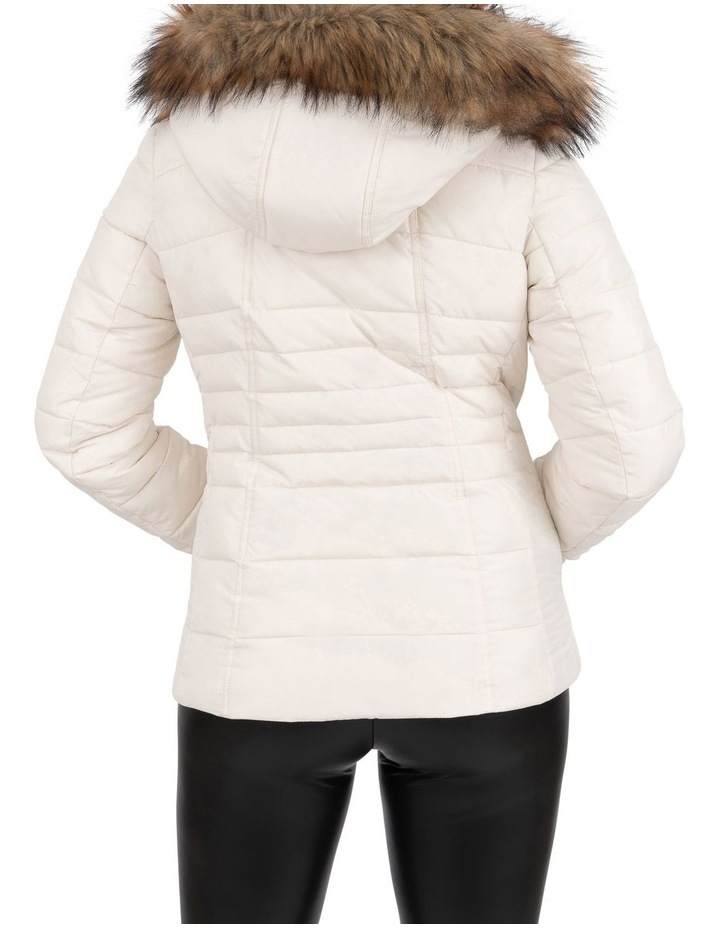 Short Puffer Jacket With Faux Fur Trim image 5