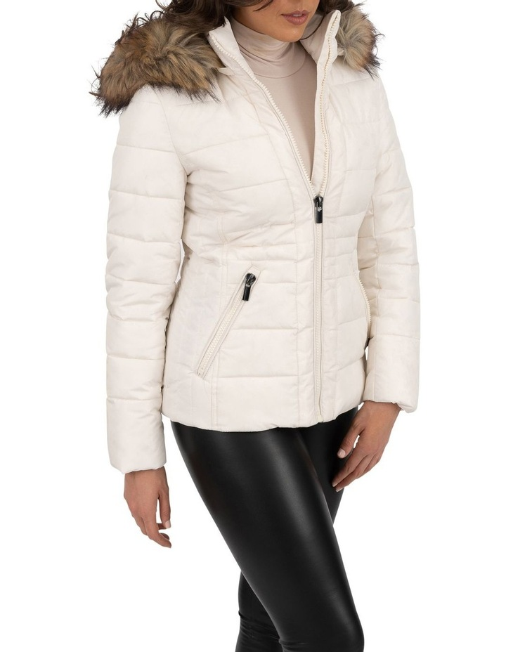Short Puffer Jacket With Faux Fur Trim image 6