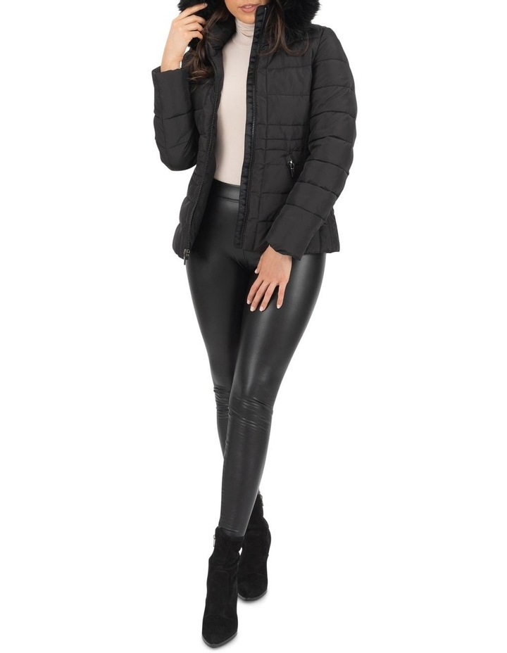Short Puffer Jacket With Faux Fur Trim image 2