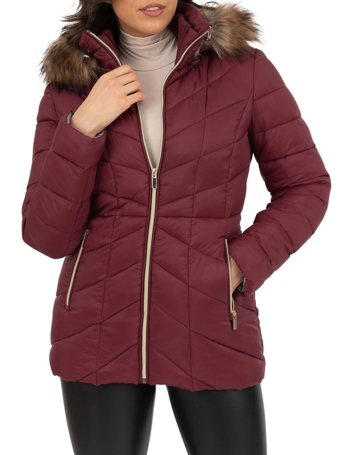 Longline Puffer With Fur image 2