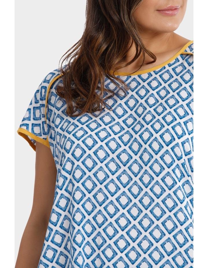 Short Sleeve Trellis Print Top image 4