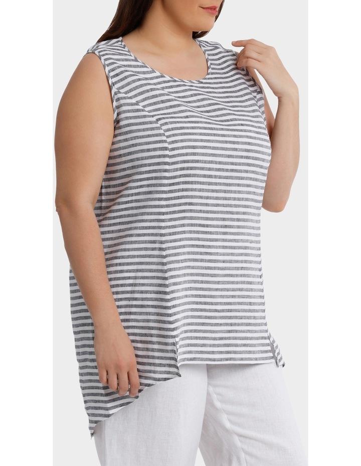 Sleeveless Panelled Stripe Linen Top image 2