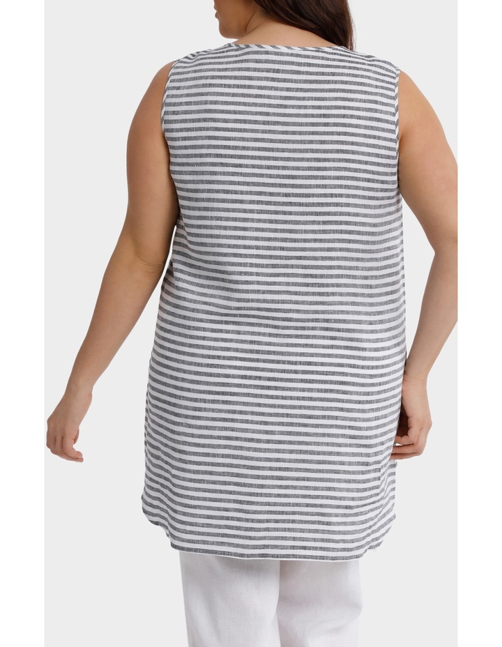 Sleeveless Panelled Stripe Linen Top image 3
