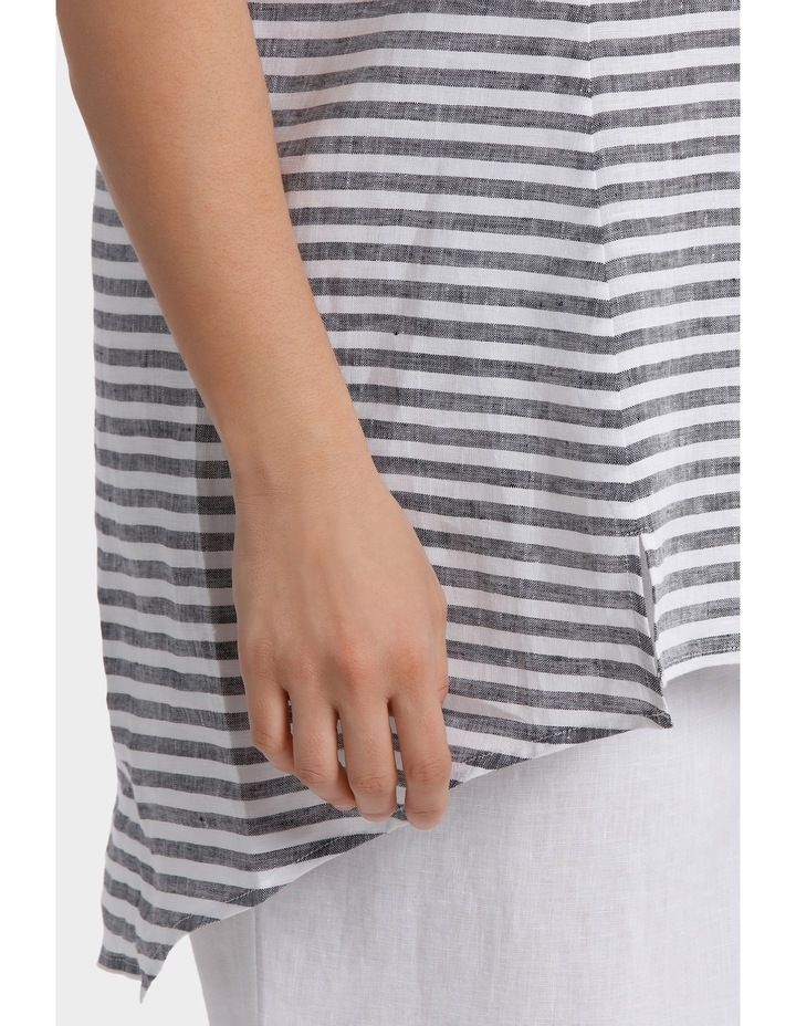 Sleeveless Panelled Stripe Linen Top image 4