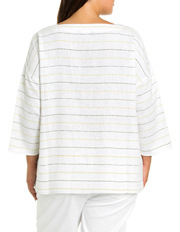 Yarra Trail Woman - 3/4 Sleeve Textured Stripe Top