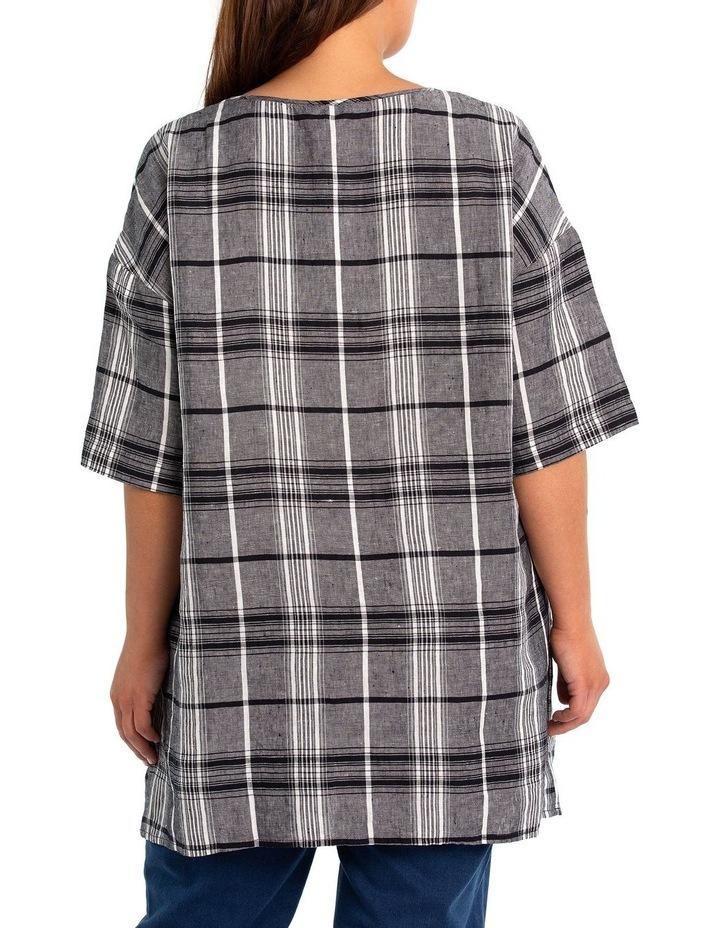 3/4 Sleeve Check Linen Over shirt image 2