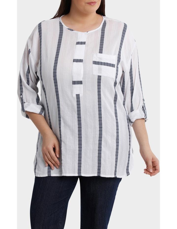 3/4 Tab Sleeve Jacquard Stripe Shirt image 1