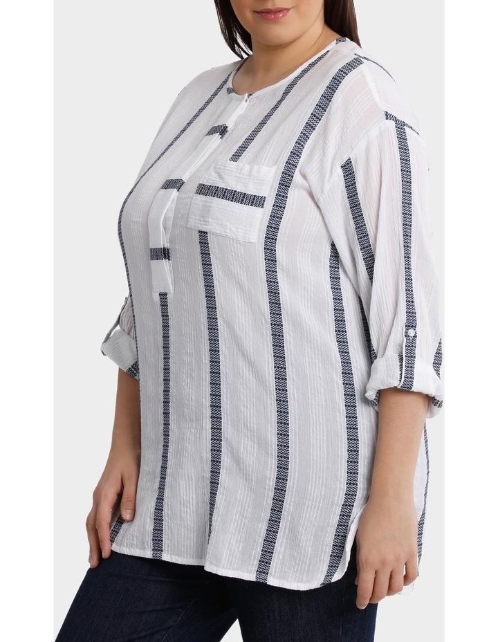3/4 Tab Sleeve Jacquard Stripe Shirt image 2