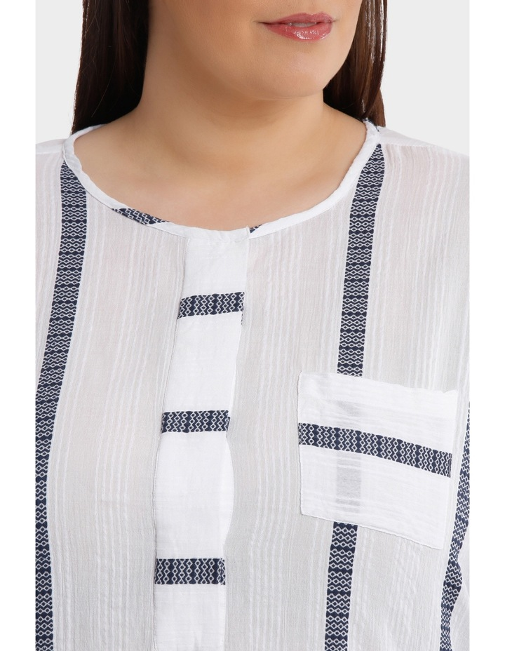 3/4 Tab Sleeve Jacquard Stripe Shirt image 4