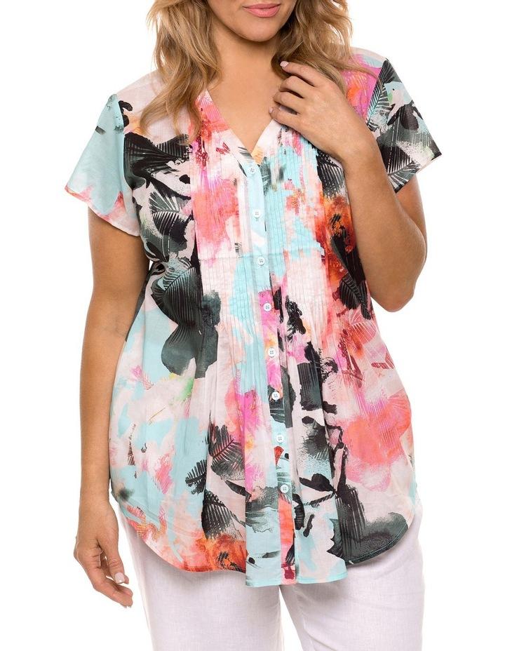 Cap Sleeve Palm Print Shirt image 1