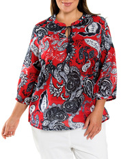 Yarra Trail Woman - 3/4 Sleeve Paisley Print Blouse